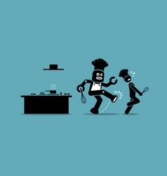 robot chef kicks away a human chef from doing his vector image