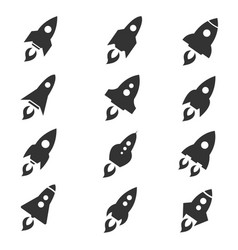 Rocket icon flat style set vector