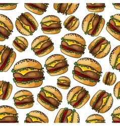 Seamless grilled cheeseburgers pattern background vector image