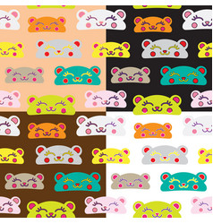 Seamless kids bear pattern set vector