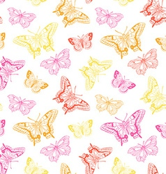 Seamless pattern with butterflies on splashes vector