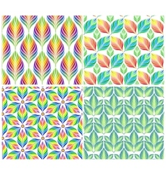 Seamless patterns with colorful leaves set vector image