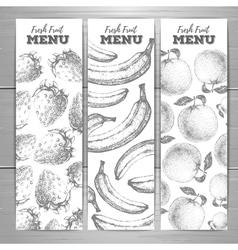 Set of vegetarian fresh fruit banners Fruit sketch vector image