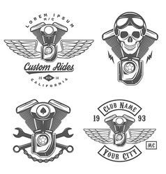 set vintage motorcycle engine design elements vector image