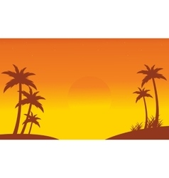 Silhouette of palm on seaside scenery vector