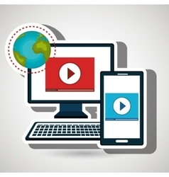 smartphone and computer isolated icon design vector image