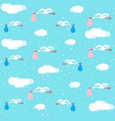stork carrying sack with baby seamless pattern vector image