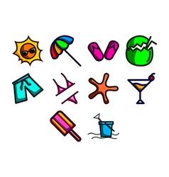 Summer season icon set vector image