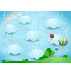 Surreal landscape with hanging clouds and hot air vector
