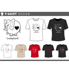 t shirt with elephant in love vector image
