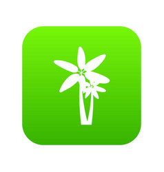 Two palm trees icon digital green vector