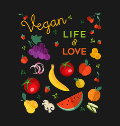 vegan food concept cartoon vegetables and fruit vector image