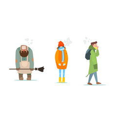 Warmly dressed people janitor girl and young man vector