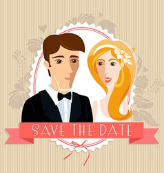 Wedding invitation card with wedding couple vector