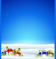 winter background with gift vector image