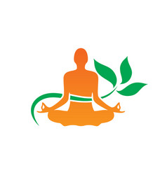 yoga meditaion leaf logo vector image