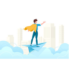 Young man conquer the world with his mind vector