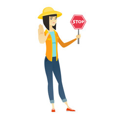 asian farmer holding stop road sign vector image