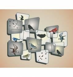 birds on beige background vector image vector image