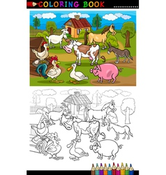 Cartoon Farm and Livestock Animals for Coloring vector image vector image