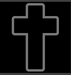 church cross white color path icon vector image