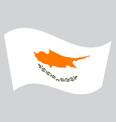flag of cyprus waving on gray background vector image vector image