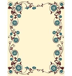 floral frame blue brown vector image