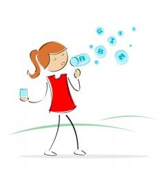 girl blowing alphabet bubbles vector image