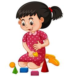 Little girl playing blocks vector