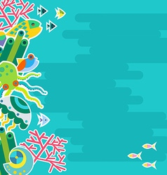Vertical background with marine animals vector image vector image