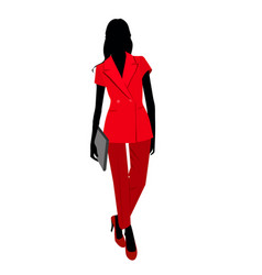 vetctor portrait of woman in red suit vector image vector image