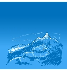 Blue mountains and river vector image