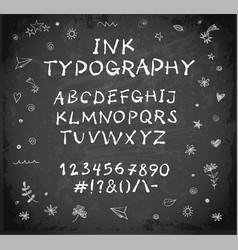 hand-drawn ink sketch font on blackboard vector image