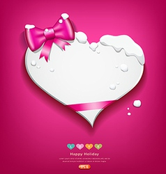 Happy valentines day pink ribbon snow in winter vector