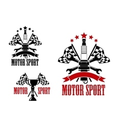 Motor race icons with trophy and spark plug vector image