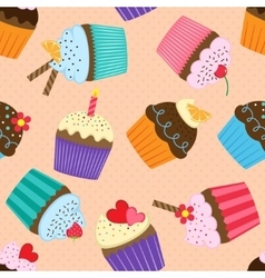 Pattern with cupcakes vector image