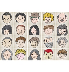 Set of various cartoon faces vector image