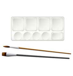 A topview of the paintbrushes and an ink tray vector image