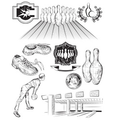 Black and White Sketch Set of Bowling Icons vector image