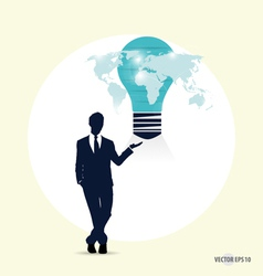Businessman with light bulb on his hand concept vector image vector image