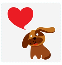 Cute dog with heart shape speech bubble vector image vector image