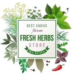 Fresh herbs store emblem vector image vector image