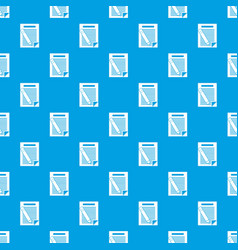paper and pencil pattern seamless blue vector image vector image