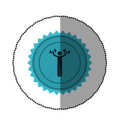 Blue emblem person lifting weights gym vector