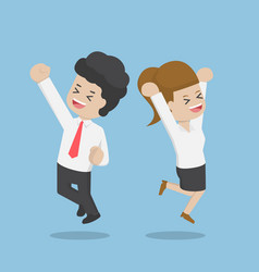 business people celebrating success by jumping vector image