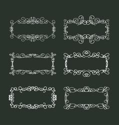 Calligraphic doodle frames set vector image vector image