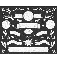 chalkboard design elements banners and badges set vector image