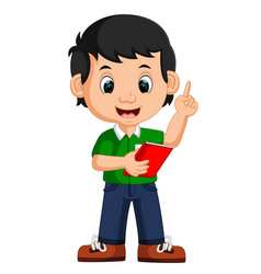 cute boy carrying book cartoon vector image vector image
