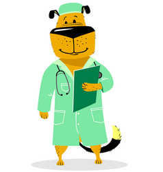dog in costume of doctor pet as a vet with with a vector image