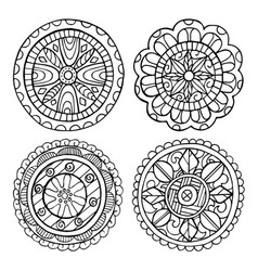hand-drawn mandala set of isolated elements vector image